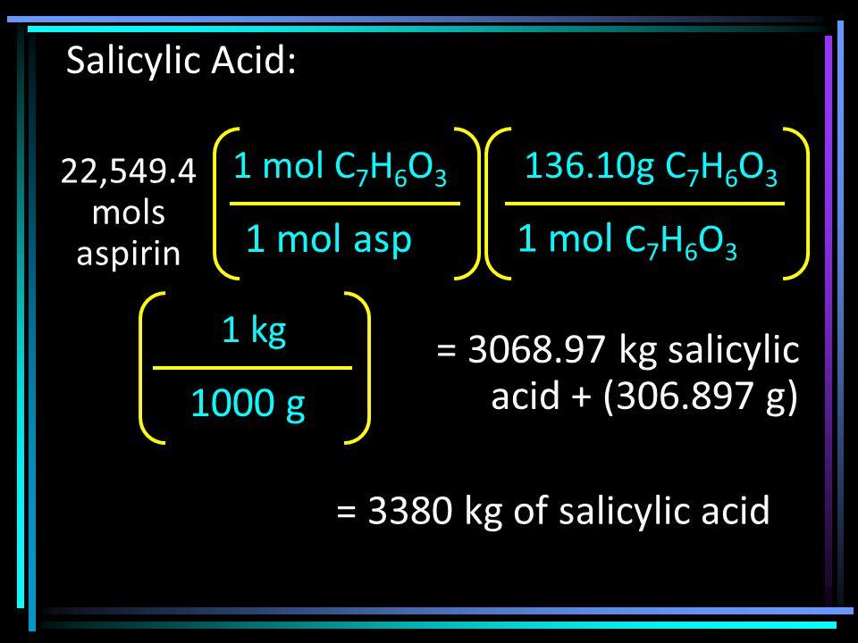 22,549.4 mols aspirin 1 mol asp 1 mol C 7 H 6 O 3 136.10g C 7 H 6 O 3 1000 g 1 kg = 3068.97 kg salicylic acid + (306.897 g) Salicylic Acid: = 3380 kg of salicylic acid