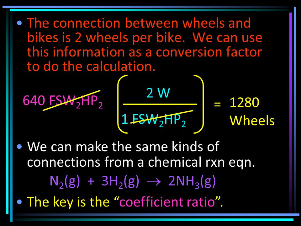 The connection between wheels and bikes is 2 wheels per bike.