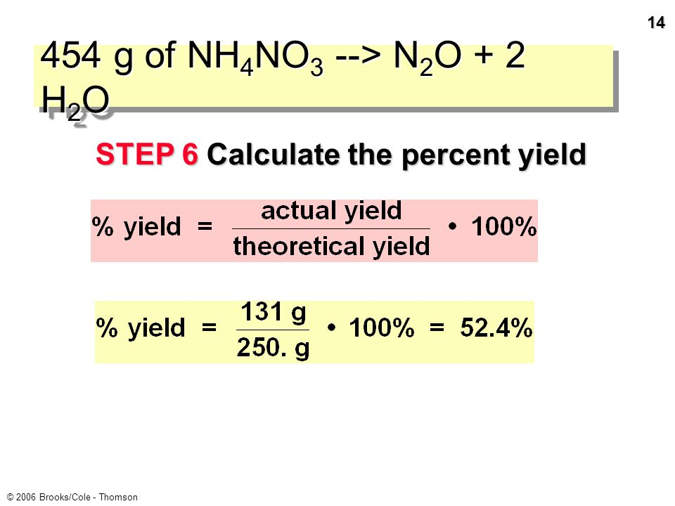 13 © 2006 Brooks/Cole - Thomson 454 g of NH 4 NO 3 --> N 2 O + 2 H 2 O STEP 6 Calculate the percent yield If you isolated only 131 g of N 2 O, what is the percent yield.