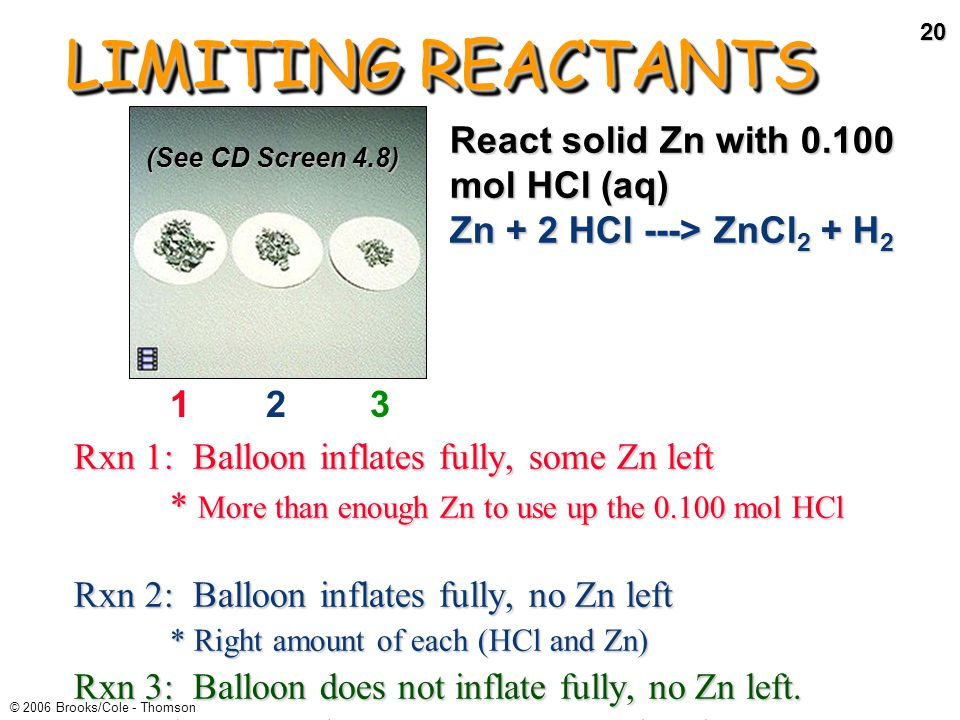 19 © 2006 Brooks/Cole - Thomson LIMITING REACTANTS Demo of limiting reactants on Screen 4.7