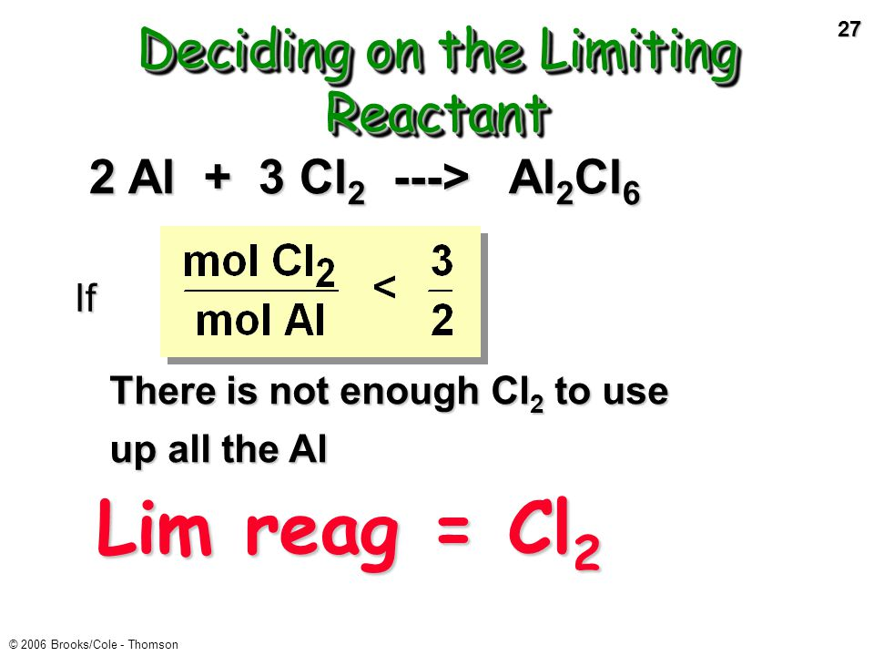26 © 2006 Brooks/Cole - Thomson Deciding on the Limiting Reactant If There is not enough Al to use up all the Cl 2 2 Al + 3 Cl 2 ---> Al 2 Cl 6 Lim re