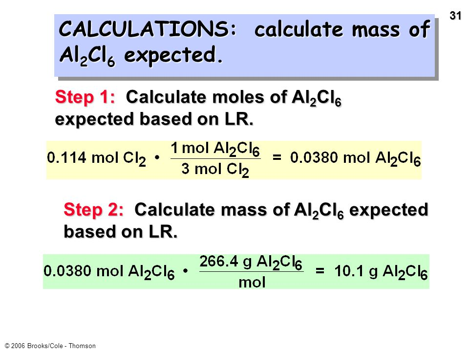 30 © 2006 Brooks/Cole - Thomson Mix 5.40 g of Al with 8.10 g of Cl 2. What mass of Al 2 Cl 6 can form? Limiting reactant = Cl 2 Base all calcs. on Cl