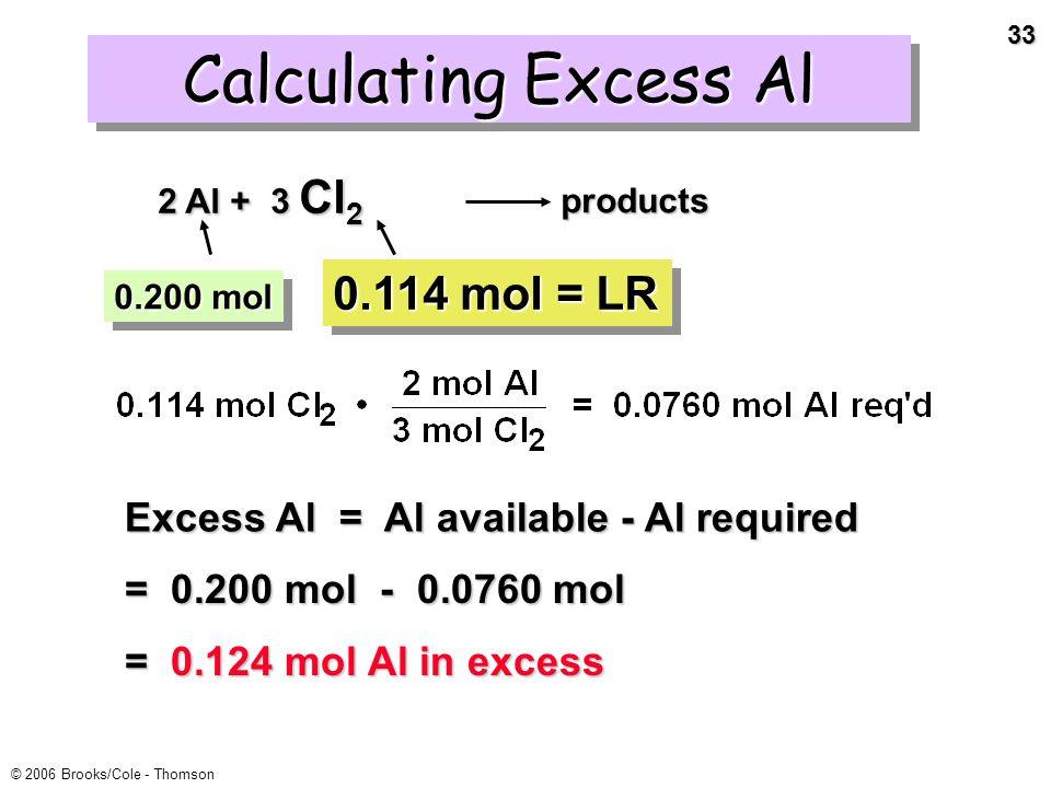 32 © 2006 Brooks/Cole - Thomson Cl 2 was the limiting reactant.