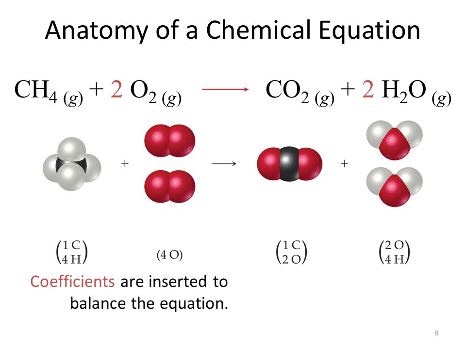 8 Anatomy of a Chemical Equation Coefficients are inserted to balance the equation. CH 4 (g) + 2 O 2 (g) CO 2 (g) + 2 H 2 O (g)