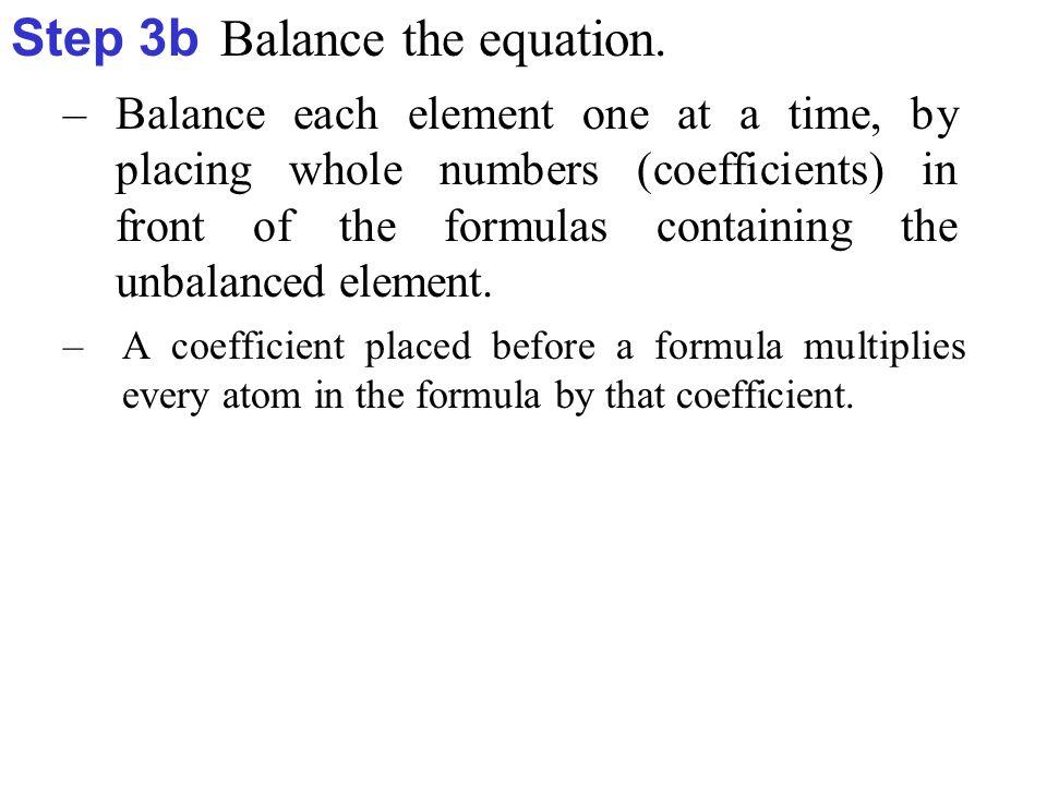 Element Reactant Side Product Side O 1 2  Oxygen (O) is balanced.