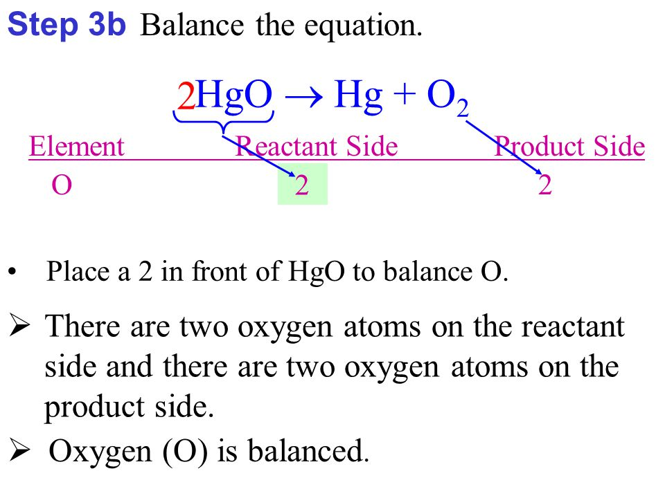 Step 3c Balance the equation.