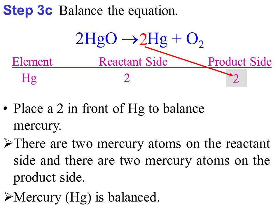 2HgO  2Hg + O 2 Element Reactant Side Product Side Hg 2 2 O 2 2  THE EQUATION IS BALANCED 
