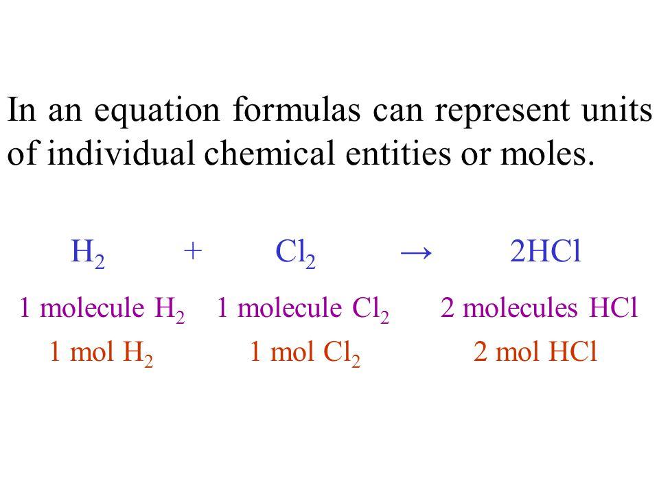 Formulas Number of molecules Number of atoms Number of moles Molar masses