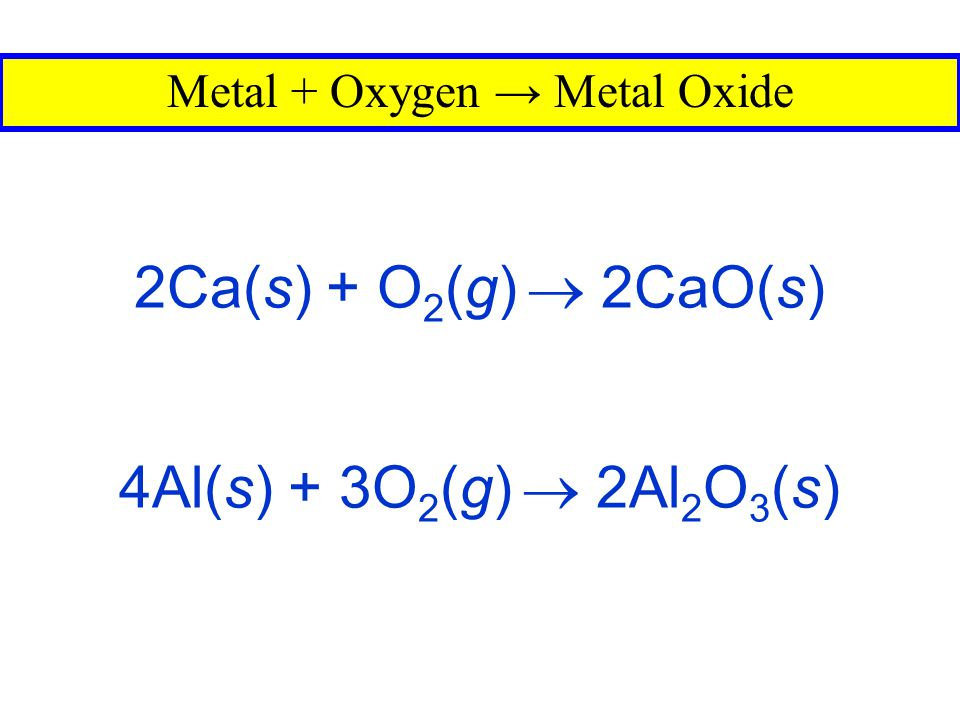 S(s) + O 2 (g)  SO 2 (g) Nonmetal + Oxygen → Nonmetal Oxide N 2 (g) + O 2 (g)  2NO(g)