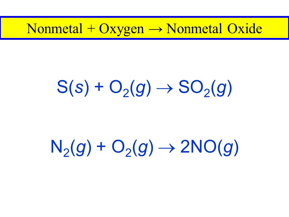 2K(s) + F 2 (g)  2KF(s) Metal + Nonmetal → Salt 2Al(s) + 3Cl 2 (g)  2AlCl 3 (s)