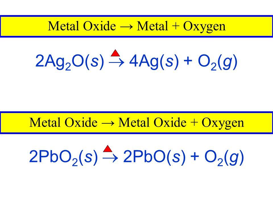 Miscellaneous Reactions 2KClO 3 (s)  2KCl(s) + 3O 2 (g) 2NaNO 3 (s)  2NaNO 2 (s) + O 2 (g) 2H 2 O 2 (l)  2H 2 O(l) + O 2 (g)