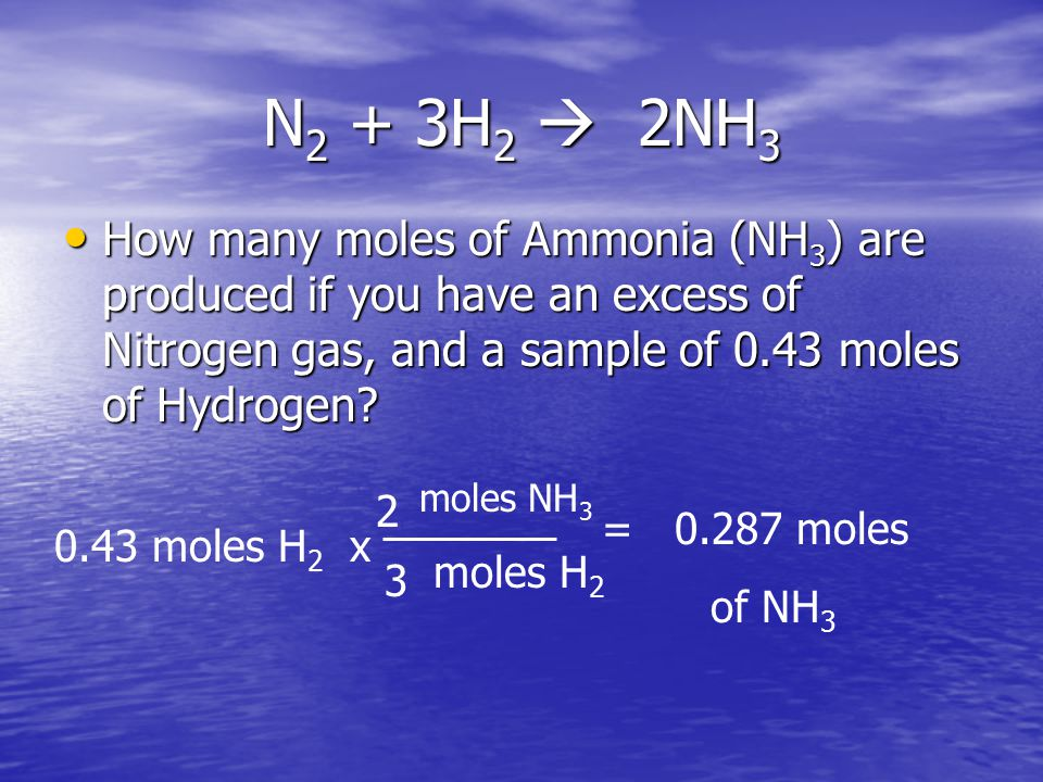 N 2 + 3H 2  2NH 3 How many moles of Ammonia (NH 3 ) are produced if you have an excess of Nitrogen gas, and a sample of 0.43 moles of Hydrogen? How m
