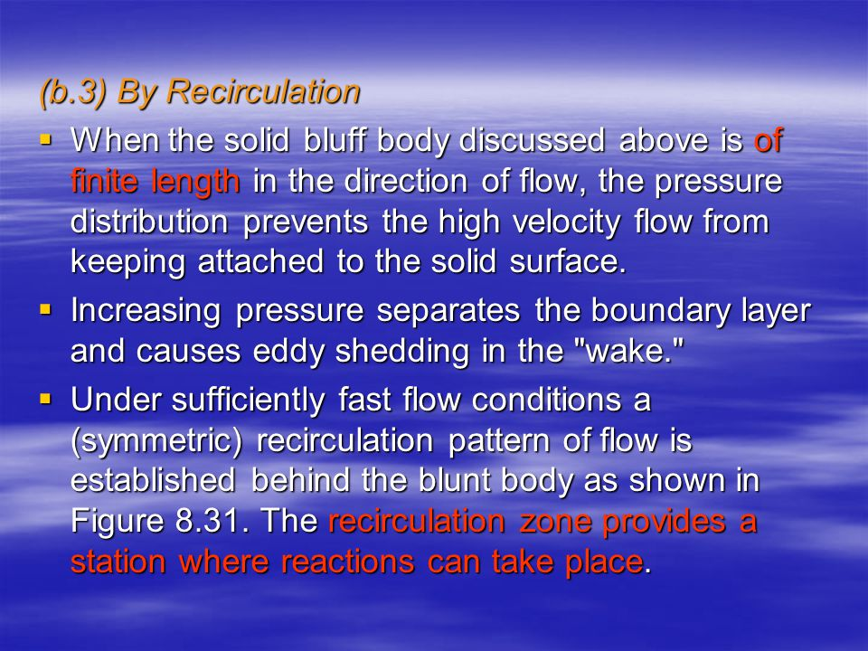 (b.3) By Recirculation  When the solid bluff body discussed above is of finite length in the direction of flow, the pressure distribution prevents the high velocity flow from keeping attached to the solid surface.