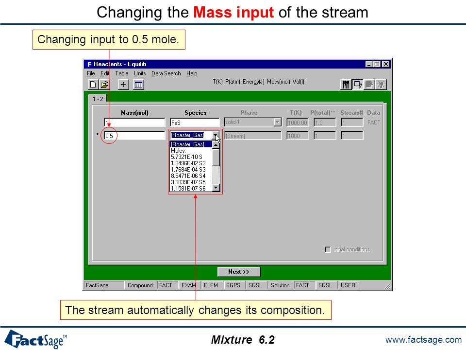 www.factsage.com Mixture Changing the Mass input of the stream Changing input to 0.5 mole.