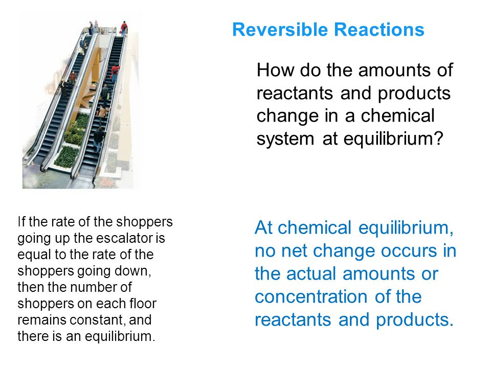Reversible Reactions How do the amounts of reactants and products change in a chemical system at equilibrium.