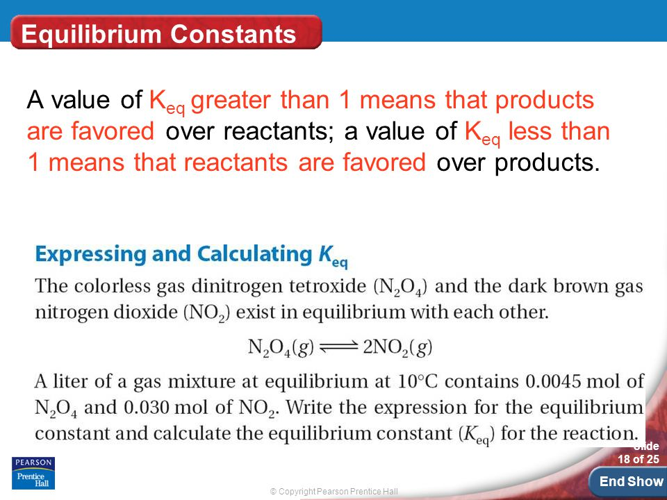 © Copyright Pearson Prentice Hall Slide 18 of 25 End Show Equilibrium Constants A value of K eq greater than 1 means that products are favored over reactants; a value of K eq less than 1 means that reactants are favored over products.