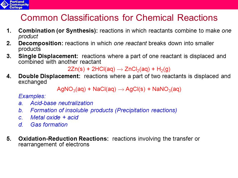 Combination & Decomposition Reactions 1.Reactions in which chemicals combine to make one product are called Combination or Synthesis Reactions a.Metal + Nonmetal reactions can be classified as Combination Reactions 2 Na(s) + Cl 2 (g)  2 NaCl(s) b.Reactions between Metals or Nonmetals with O 2 can be classified as Combination Reactions N 2 (g) + O 2 (g)  2 NO(g) Note: these two types of Combination Reactions are also subclasses of Oxidation-Reduction Reactions 2.Reactions in which one reactant breaks down into smaller molecules are called Decomposition Reactions a.Decomposition reactions are generally initiated by the addition of energy (via electric current or heat) b.Decomposition reactions are the opposite of Combination Reactions: 2 NaCl(l)  2 Na(l) + Cl 2 (g)