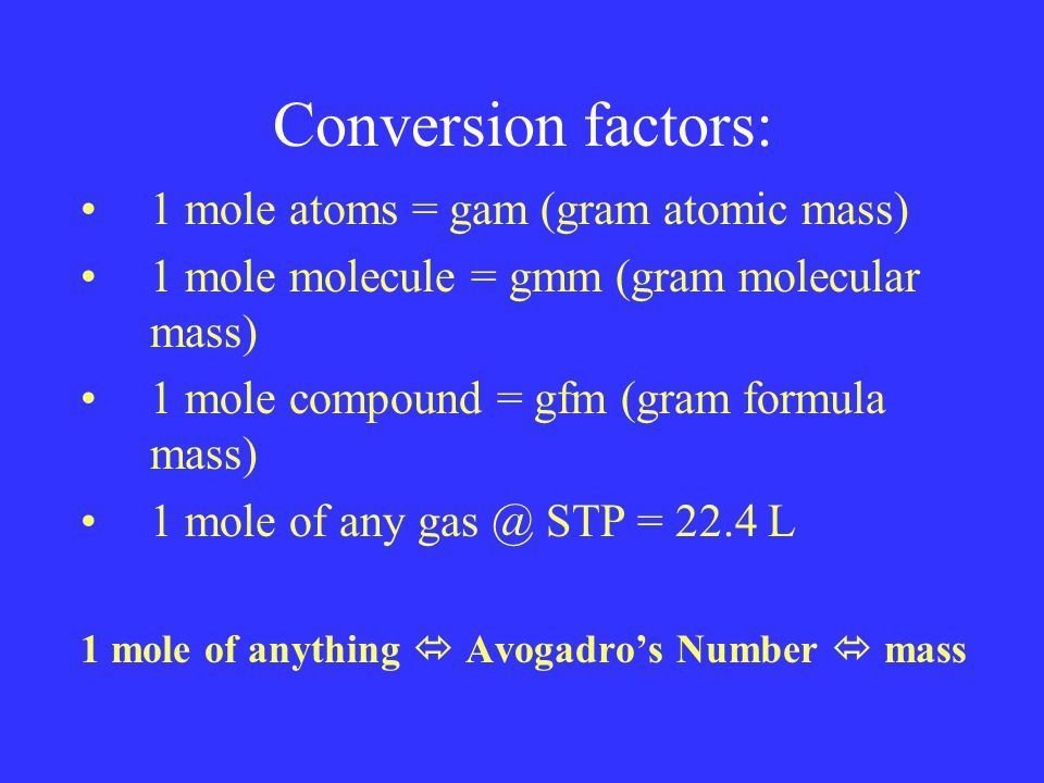 Conversion factors: 1 mole atoms = gam (gram atomic mass) 1 mole molecule = gmm (gram molecular mass) 1 mole compound = gfm (gram formula mass) 1 mole of any gas @ STP = 22.4 L 1 mole of anything  Avogadro's Number  mass