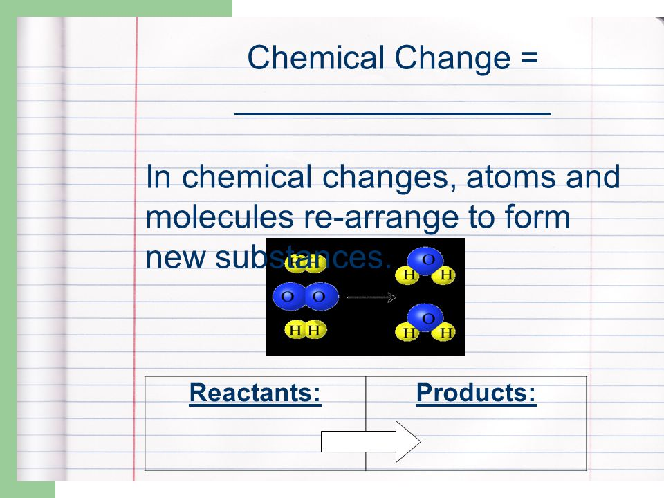 Signs of Change Physical – Size – Shape – Texture Chemical – Temperature – Color – Bubbles/fizzing – Smoke – Smell