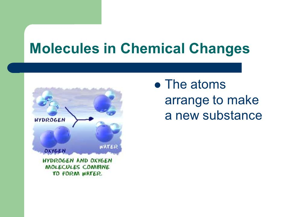 Reactants: Products: Chemical Change = _________________ In chemical changes, atoms and molecules re-arrange to form new substances.