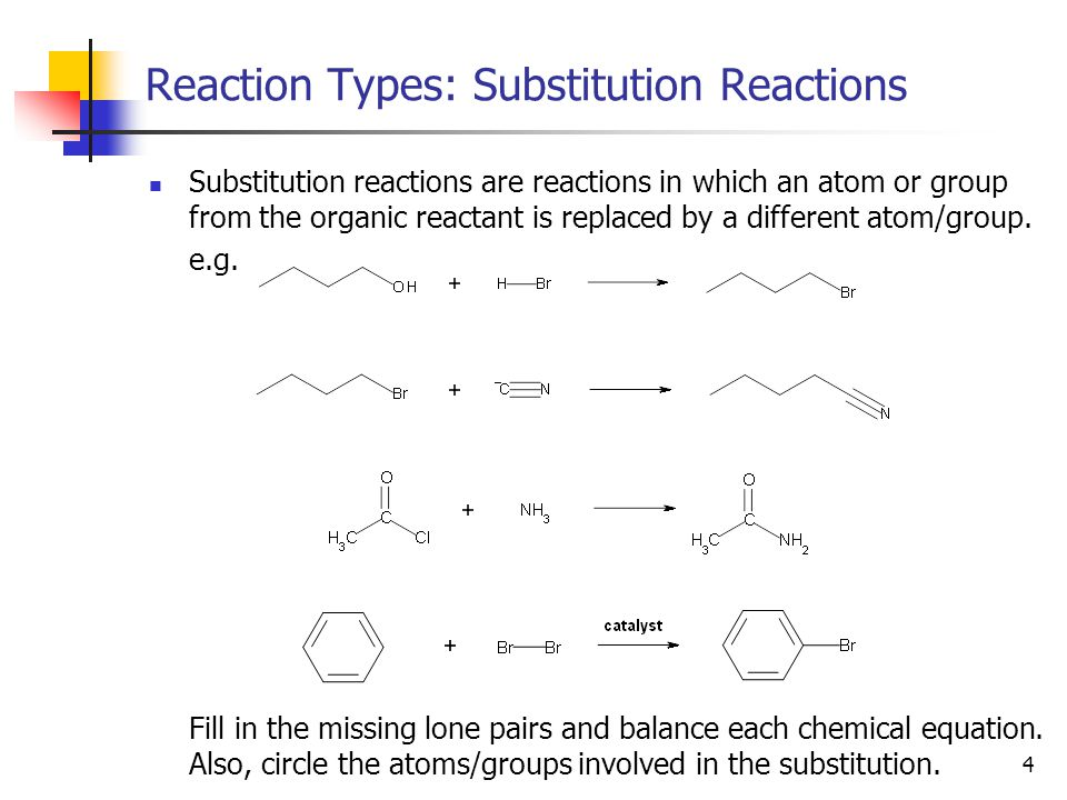 5 Reaction Types: Addition Reactions Addition reactions are reactions in which a  bond is broken, allowing two groups to be added to a molecule (one new bond to each atom that used to be part of the  bond).