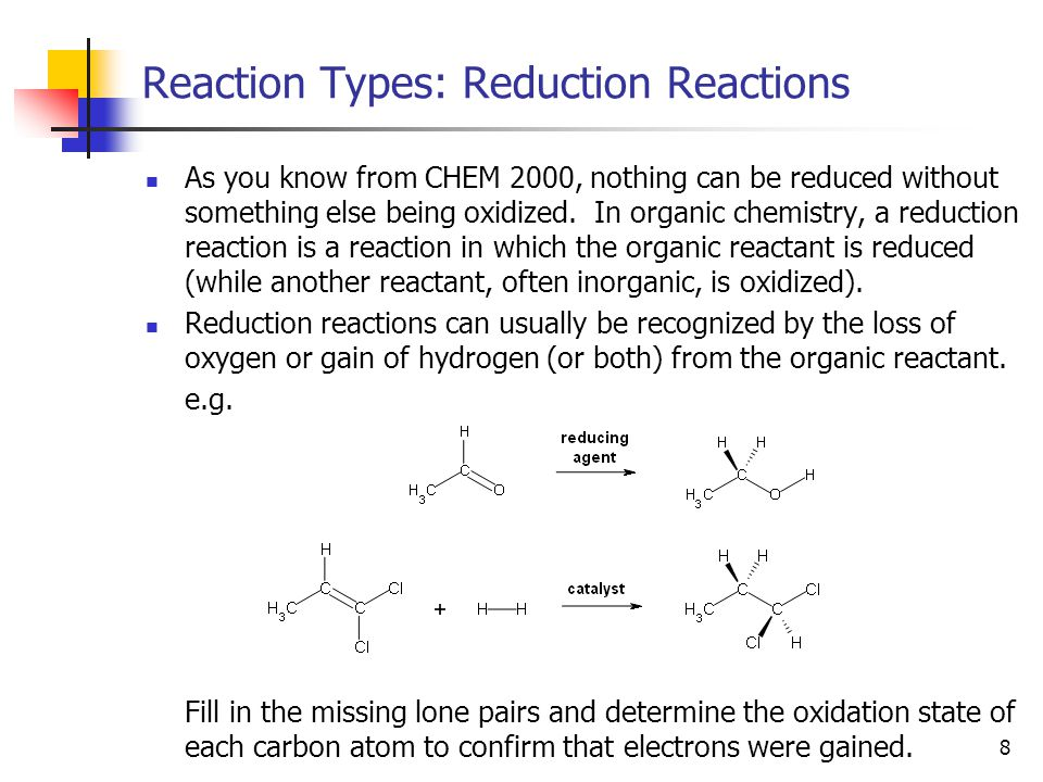 9 Reaction Types: Rearrangement Reactions Rearrangement reactions are reactions in which no atoms are lost or gained from a molecule; they are simply rearranged.