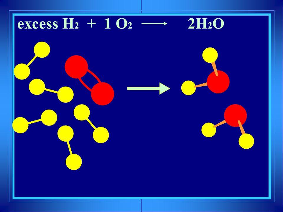? excess H 2 + 1 O 2 2H 2 O
