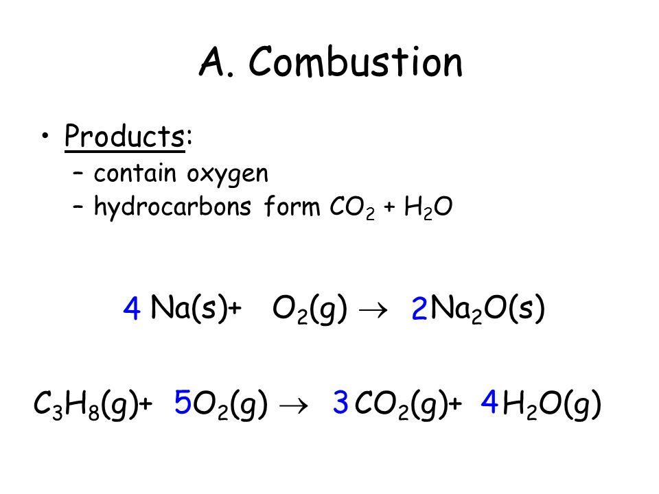 A. Combustion CH 4 (g) + 2O 2 (g)  CO 2 (g) + 2H 2 O(g) The burning of any substance in O 2 to produce heat A + O 2  B