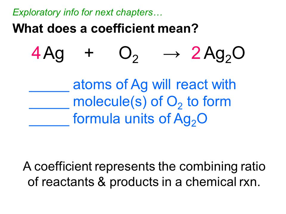 4Ag + O 2 → Ag 2 O2 What does a coefficient mean.