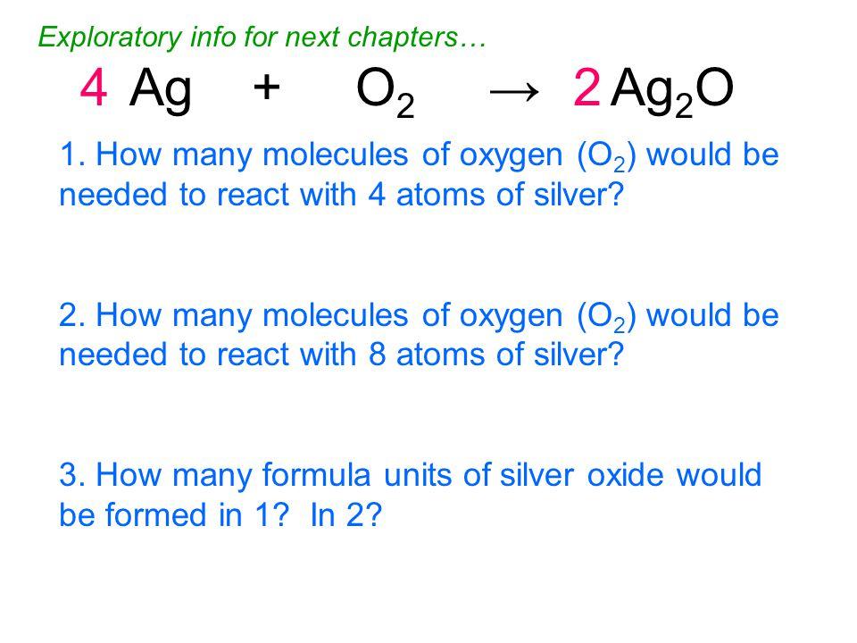 4Ag + O 2 → Ag 2 O2 1.