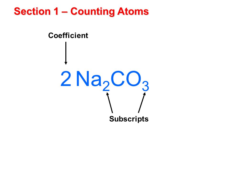 Section 1 – Counting Atoms Subscripts 2 Coefficient Na 2 CO 3