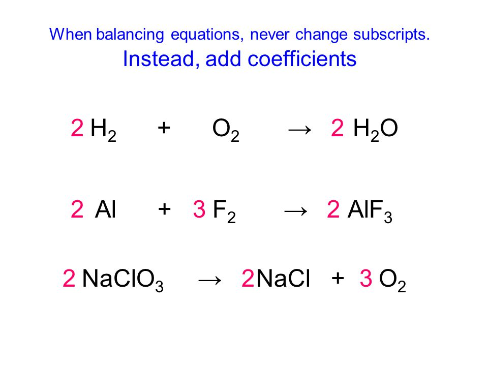 When balancing equations, never change subscripts.