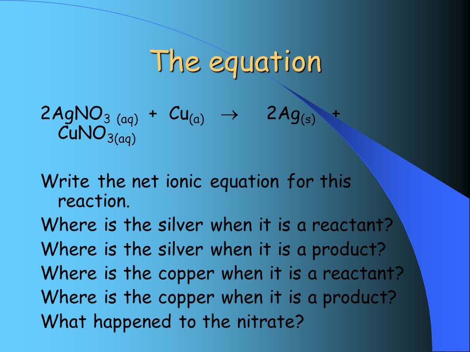 The equation 2AgNO 3 (aq) + Cu (a)  2Ag (s) + CuNO 3(aq) Write the net ionic equation for this reaction.