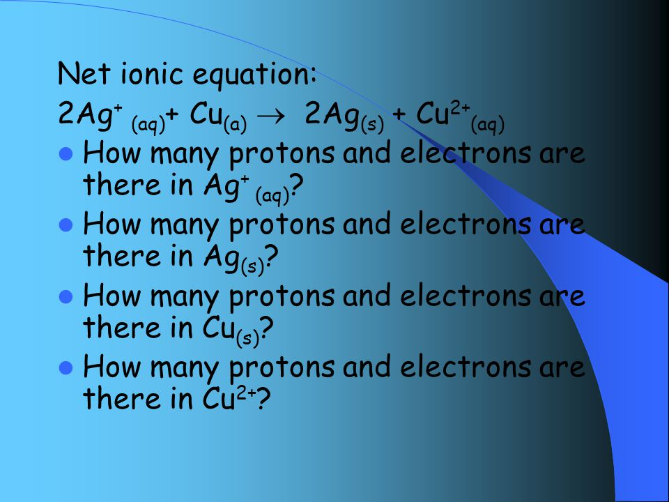Net ionic equation: 2Ag + (aq) + Cu (a)  2Ag (s) + Cu 2+ (aq) How many protons and electrons are there in Ag + (aq) .