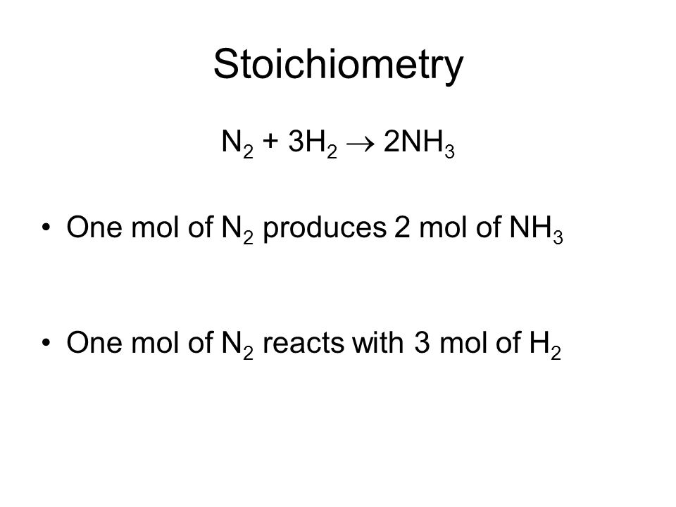 Stoichiometry N 2 + 3H 2  2NH 3 One mol of N 2 produces 2 mol of NH 3 One mol of N 2 reacts with 3 mol of H 2