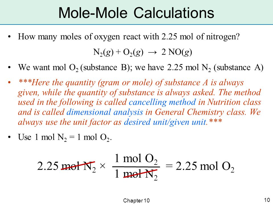 Chapter 10 10 How many moles of oxygen react with 2.25 mol of nitrogen.
