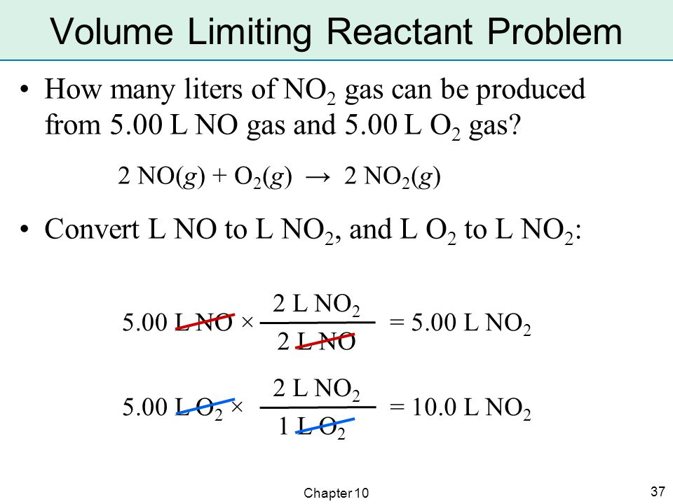 Chapter 10 37 How many liters of NO 2 gas can be produced from 5.00 L NO gas and 5.00 L O 2 gas.