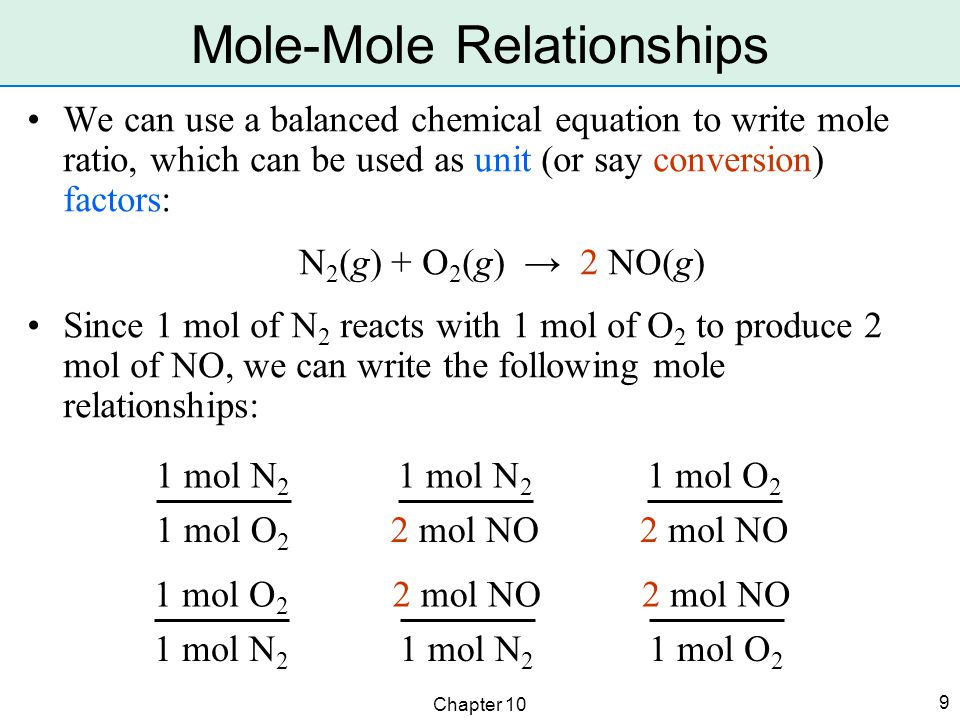 Chapter 10 9 We can use a balanced chemical equation to write mole ratio, which can be used as unit (or say conversion) factors: N 2 (g) + O 2 (g) → 2