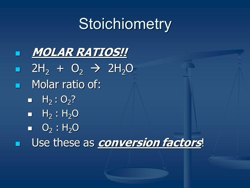 Stoichiometry MOLAR RATIOS!. MOLAR RATIOS!.