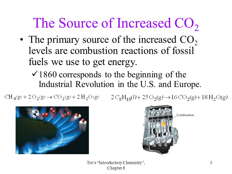 3Tro s Introductory Chemistry , Chapter 8 The Source of Increased CO 2 The primary source of the increased CO 2 levels are combustion reactions of fossil fuels we use to get energy.
