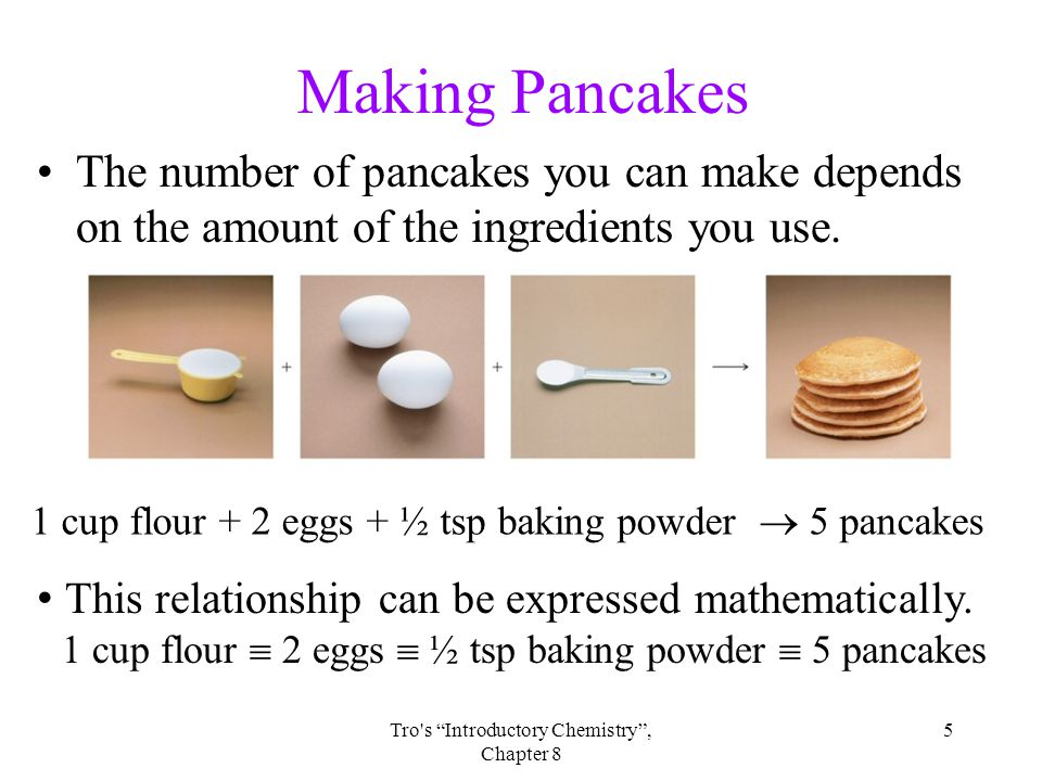5Tro s Introductory Chemistry , Chapter 8 Making Pancakes The number of pancakes you can make depends on the amount of the ingredients you use.