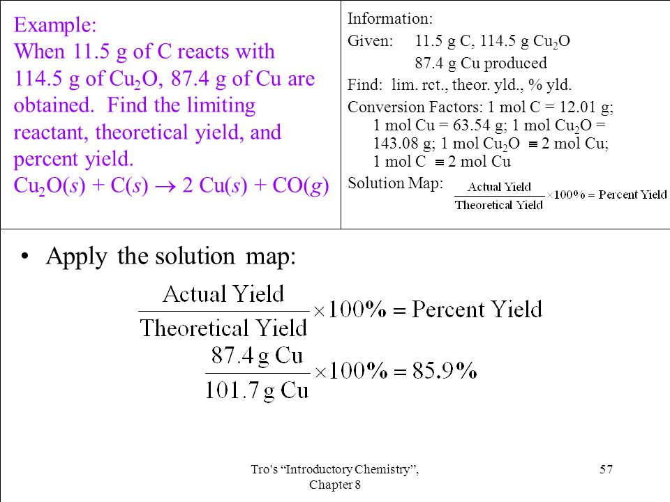 57Tro s Introductory Chemistry , Chapter 8 Apply the solution map: Information: Given:11.5 g C, 114.5 g Cu 2 O 87.4 g Cu produced Find: lim.