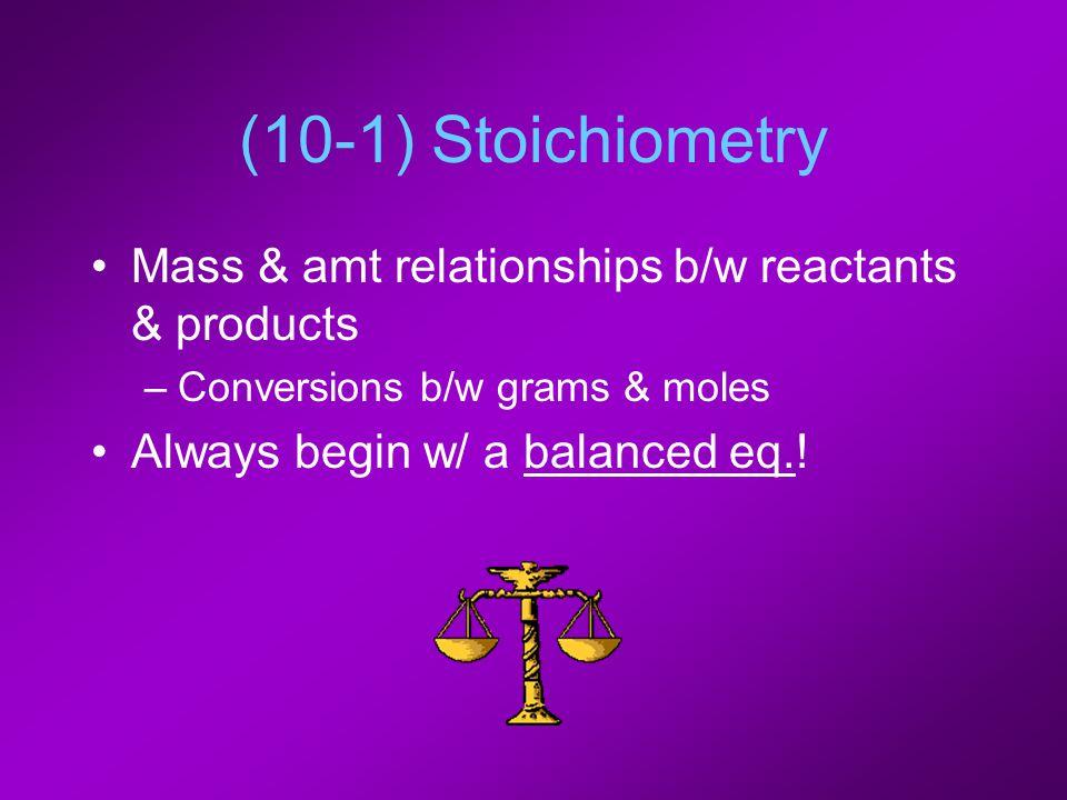 (10-1) Stoichiometry Mass & amt relationships b/w reactants & products –Conversions b/w grams & moles Always begin w/ a balanced eq.!