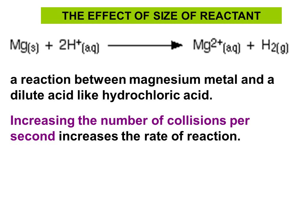 THE EFFECT OF SIZE OF REACTANT a reaction between magnesium metal and a dilute acid like hydrochloric acid. Increasing the number of collisions per se