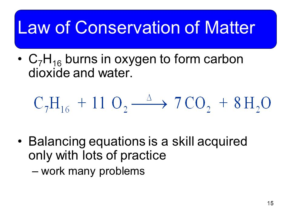 15 Law of Conservation of Matter C 7 H 16 burns in oxygen to form carbon dioxide and water. Balancing equations is a skill acquired only with lots of