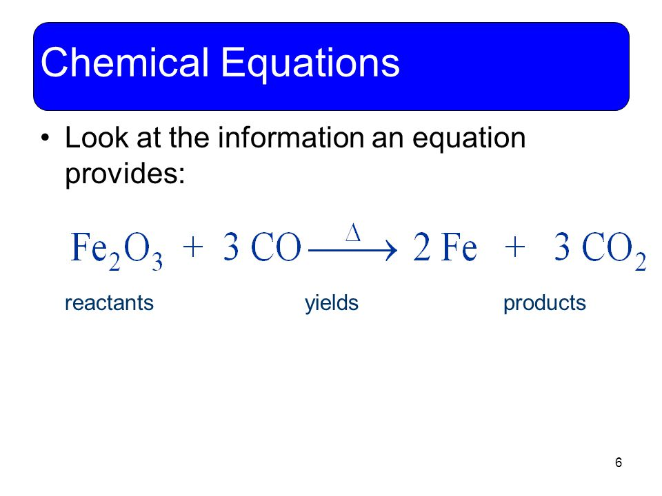 6 Chemical Equations Look at the information an equation provides: reactants yields products