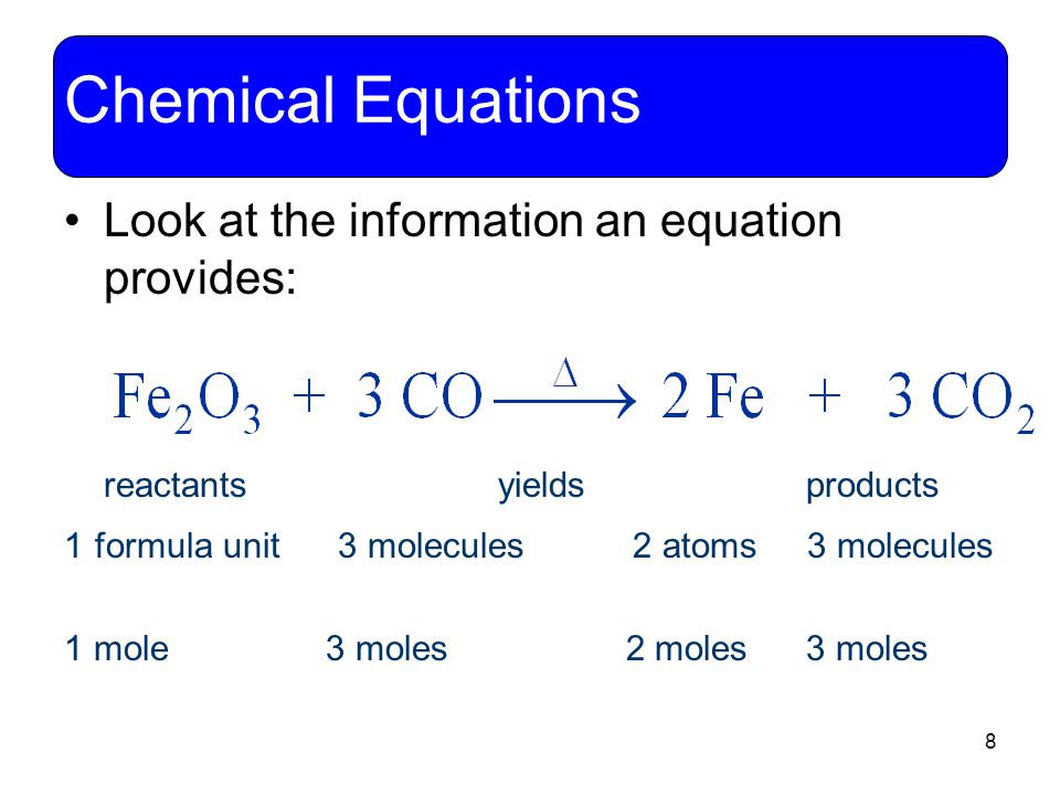 8 Chemical Equations Look at the information an equation provides: reactants yields products 1 formula unit 3 molecules 2 atoms 3 molecules 1 mole 3 m