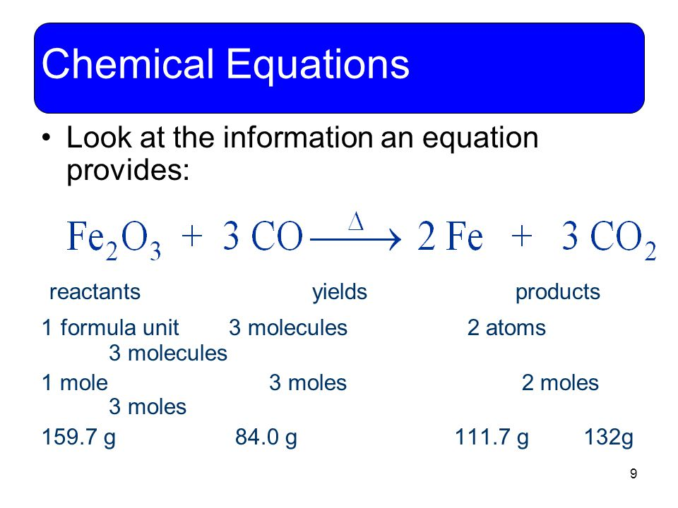 9 Chemical Equations Look at the information an equation provides: reactants yields products 1 formula unit 3 molecules 2 atoms 3 molecules 1 mole 3 m