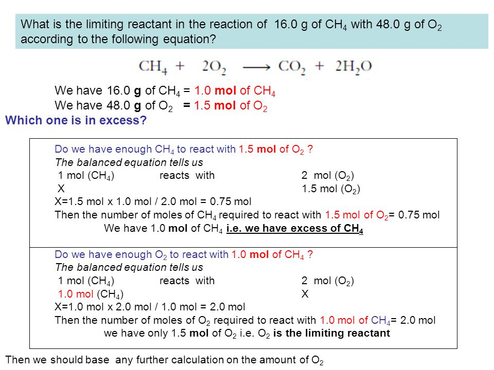 What is the limiting reactant in the reaction of 16.0 g of CH 4 with 48.0 g of O 2 according to the following equation? We have 16.0 g of CH 4 = 1.0 m