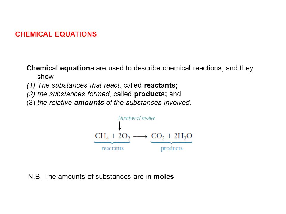 Chemical equations are used to describe chemical reactions, and they show (1)The substances that react, called reactants; (2)the substances formed, ca